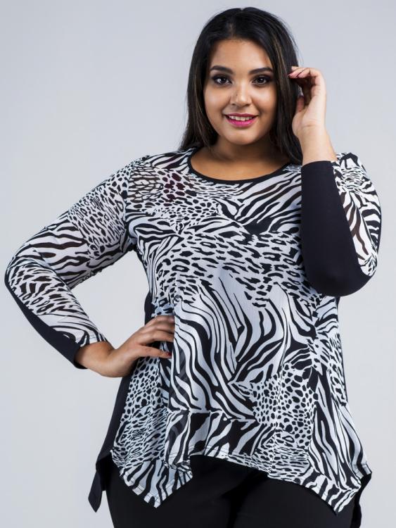 Tunika czarno-biała zebra